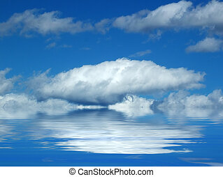 felhő, felett, Víz