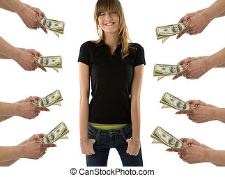 Dreaming about money - Happy girl standing with closed eyes...