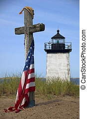 Memorial at Long Point Lighthouse in Provincetown, Cape Cod,...