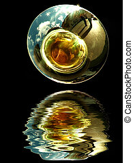 Trombone or Tuba Detail - Abstract detail of Brass Band Wind...