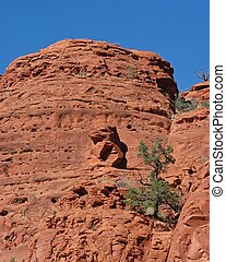 eagle on mountain - eagle shaped natural stone on red rock...