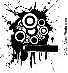 ink splat circle - abstract splatter design in ink with...