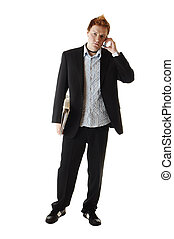 Business man holding a book and talking on a phone