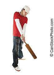 Cricket player - Isolated cricket player with bat