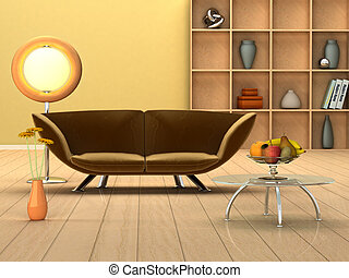 Modern room with a couch - 3D rendering of a modern interior...