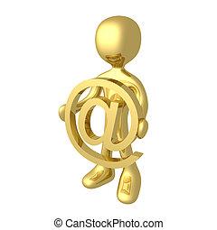 At Symbol - 3d character holding an at symbol.