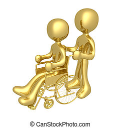 Person on wheelchair - Person helping another person on a...