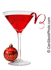 Christmas Cocktail - Red cocktail with red streamer and...
