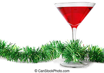 Christmas Cocktail - Red cocktail with green tinsel streamer