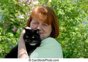 Woman with her nice cat