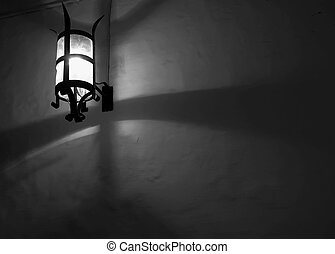 Medieval Lantern - Medieval Lamp in the silent city of...