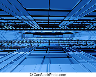 Hi-tech interior space - Blue 3d spatial orthogonal grating...
