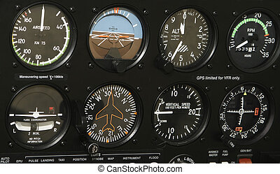 Cockpit Control Panel - A control panel in a small airplane...