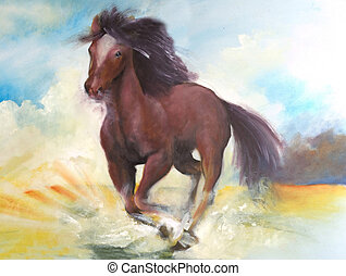 Horse jumping, this is oil painting on canvas and I am...