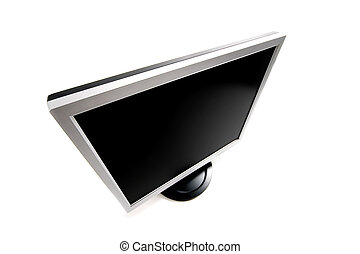 Blank TFT monitor - Black TFT monitor on white background