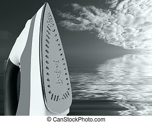 Ironing - Hot Steam Iron - modern hand iron over background