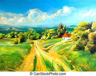 Summer landscapes - Summer scene of landscapes, this is oil...
