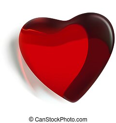 Red Glass Heart 2 - Red Glass Heart 02 - Highly detailed...