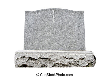 Headstone - Blank granite headstone set against white...