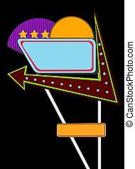 Neon Sign Board - Neon sign board illustration with black...