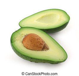 cut avocado - close-up of cut avocado fruit isolated on...
