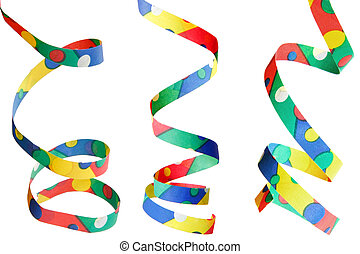 Party Streamers Isolated - Isolated party streamers with...