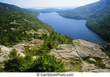 "Jordon Pond as seen from the \""Bubbles\\\"" Acadia National..."