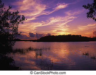 Sunset at Paurodus Pond in the Everglades National Park,...