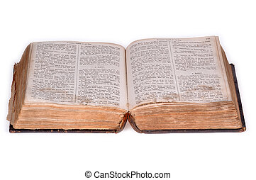 Open old bible version 5. - Old bible, over 100 years old,...