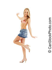 happy blond in denim skirt #2 - picture of happy blond in...