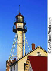 Whitefish Point Lighthouse. Lake Superior in Michigan\\\'s...