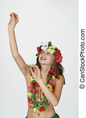 Preteen girl dressed as Hula Girl - Model Release 261...