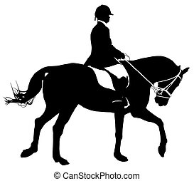 Dressage Silhouette - A silhouette of a dressage horse rider...