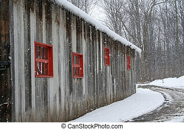 Abandoned vintage barn. - Abandoned vintage barn with red...