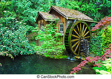 water wheel - beautiful landscape in the country