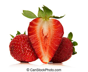 strawberries - fresh strawberries over white background