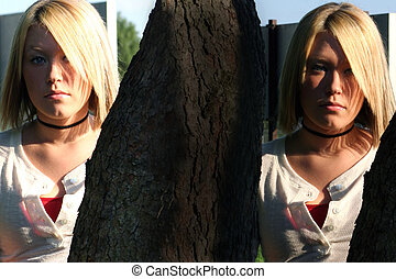Virtual Twins - Twins of blond haired, serious young woman,...