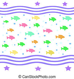 navy baby - colorful fish and bubbles scattered on white...