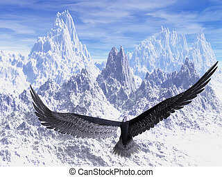 Eagle - An eagle flight against white snowy mountains