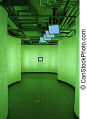 urbanistic corridor with information TV\\\'s in green light