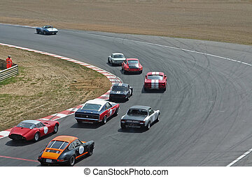 car racing on spiral road
