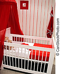 baby waiting - interior of child room in red color