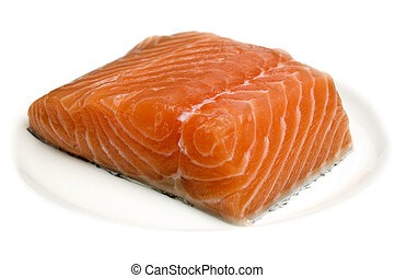 salmon - raw salmon steak on plate isolated close up