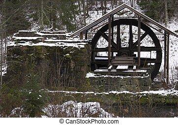 Sawmill - A waterpowered sawmill wheel in Lørenskog, Norway