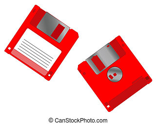 Diskettes - 2 red diskettes on a white background