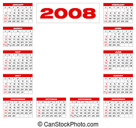 Calendar2008_B4 - Calendar for 2008. Numbers within a grid...