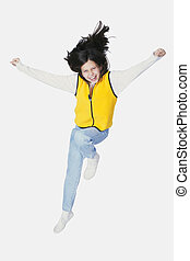 Preteen Junping - Preteen jumping on white background