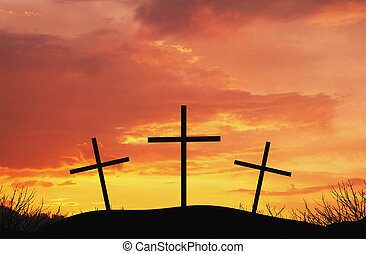 Three crosses on top af hill