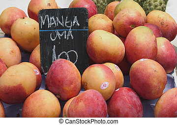 Mangos in a street market - Mangos for sale in a street...