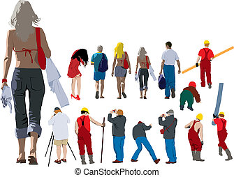 People going away - Colour illustration of people from back